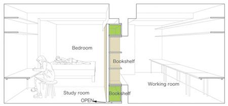 """下面是透视设计图,书架居然是两个房间之间唯一的""""门""""."""