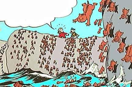 科教台 生活    迪士尼工作室在1955年将旅鼠在挪威跳海自杀的场面