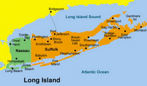 科教台-中国网络; 美国长岛地图;; 位于美国东部的长岛.