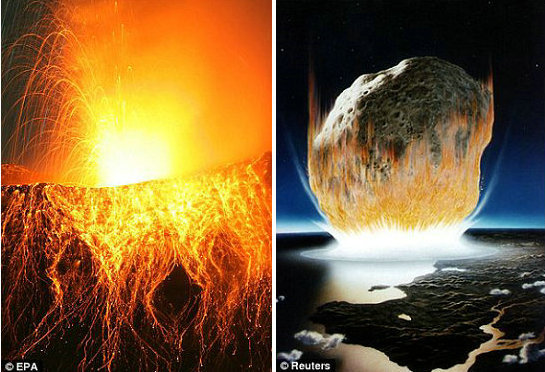 新研究发现显示恐龙灭绝由陨石撞击地球和大规模火山喷发的双重灾难