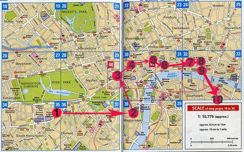 伦敦旅游地图 手绘