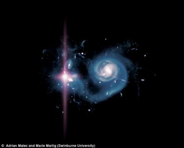 一幅高分辨率模拟图,展示了早期宇宙内一个拥有一颗高光度超新星的星系