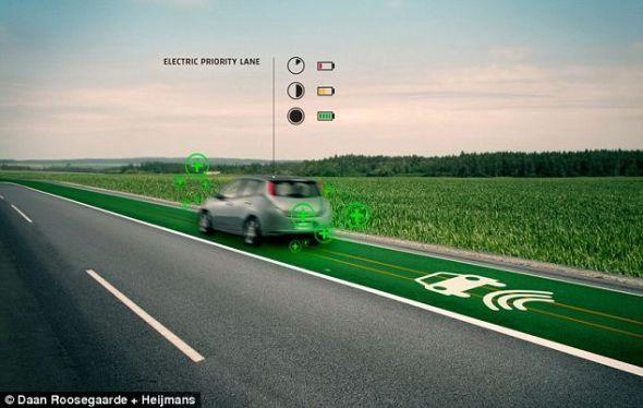荷兰未来的智能公路,能够让电动汽车的驾驶者在行驶途中为汽车充电