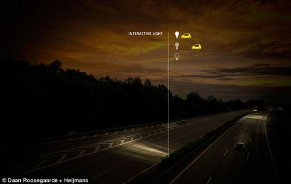 荷兰的智能公路将安装节能灯,随着车辆的靠近亮度逐渐提高,车辆通过后关闭