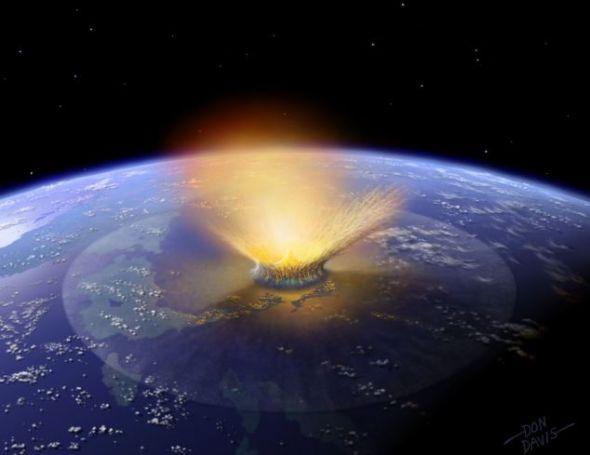 计算机模拟景象:小行星撞击地球。这正是此次最新的方案中试图阻止的事件