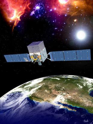 美国航空航天局的费米伽马射线太空望远镜想象图