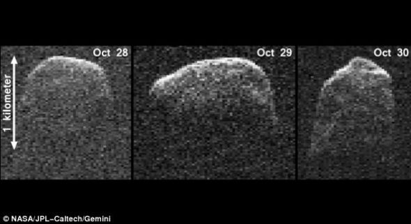 这三张图像是使用美国宇航局戈德斯通70米天线获取的雷达图像,显示这是一颗直径大约1.6公里的近地小行星