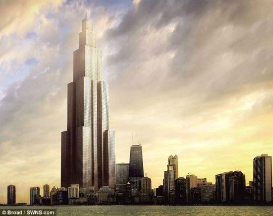 """艺术概念图,展示了中国远大集团计划在长沙建造的世界最高摩天楼""""天空城市""""。""""天空城市""""将建造220层,计划在短短3个月内竣工"""